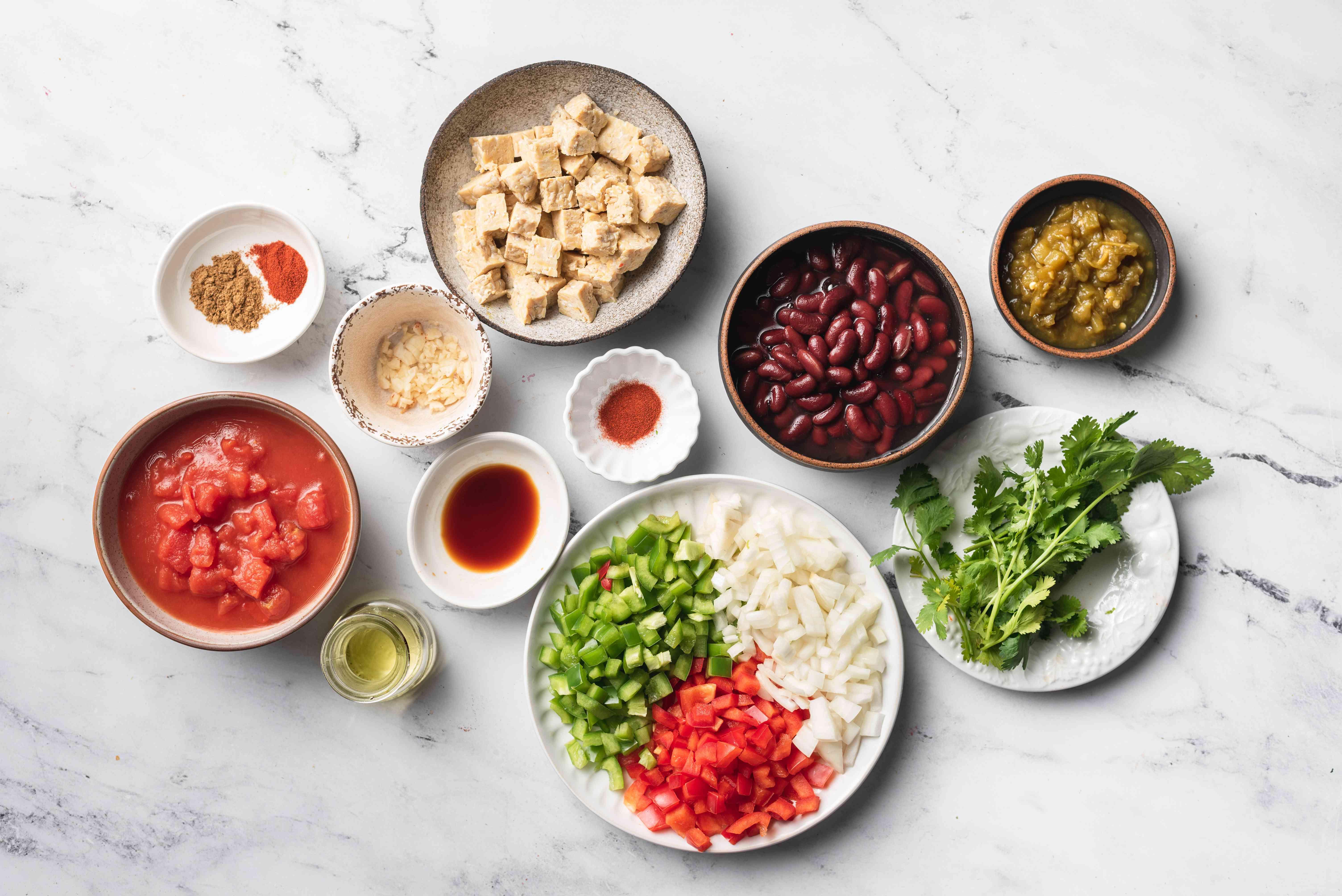 Vegan Tempeh Chili ingredients