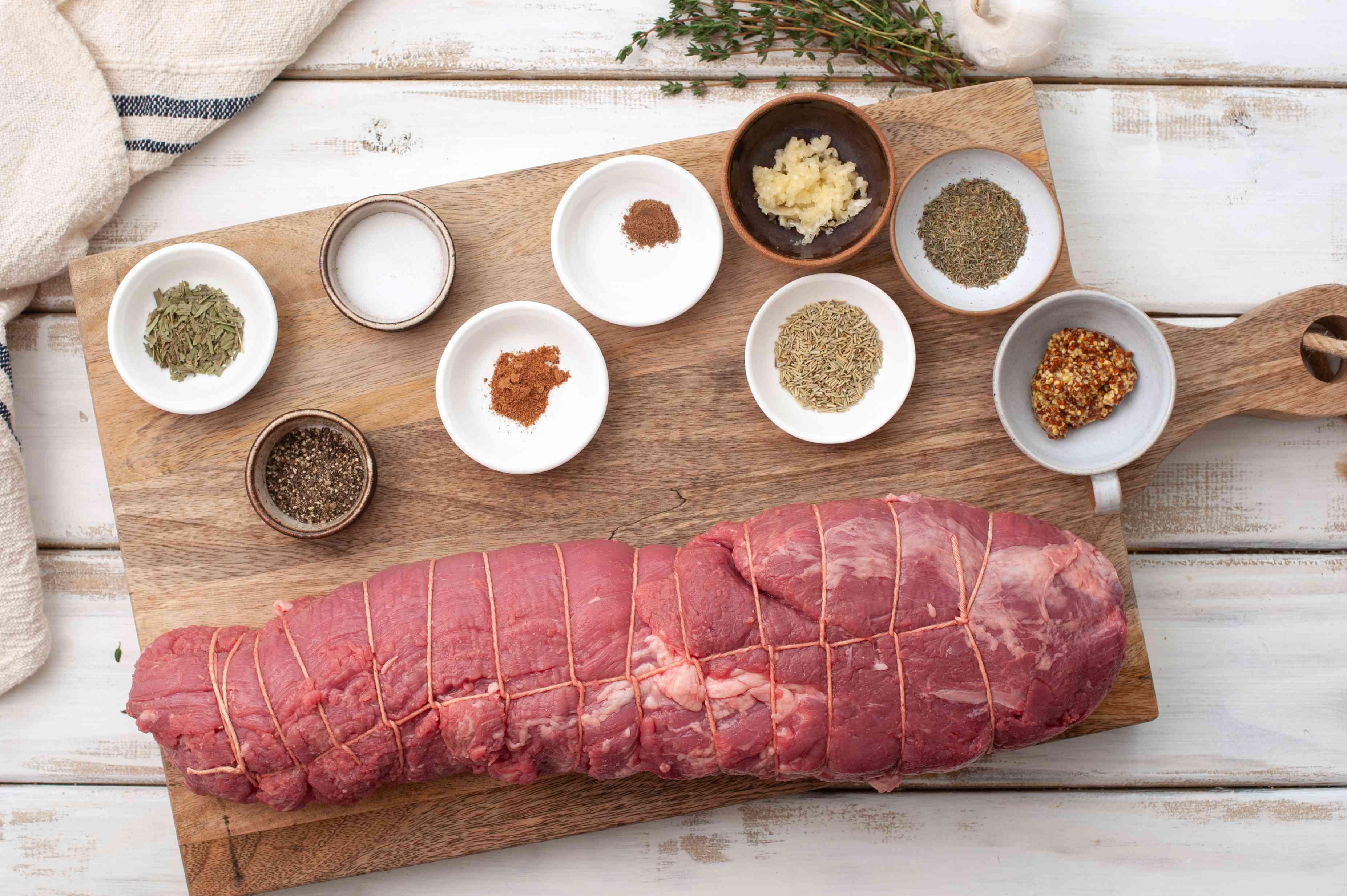 Ingredients for beef tenderloin