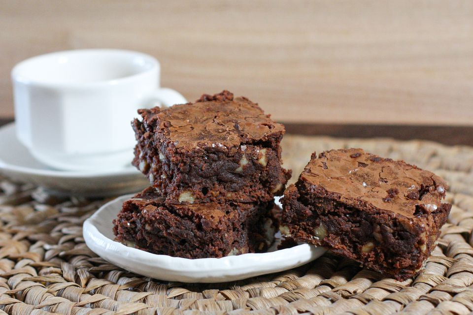 Plate of bittersweet brownies.