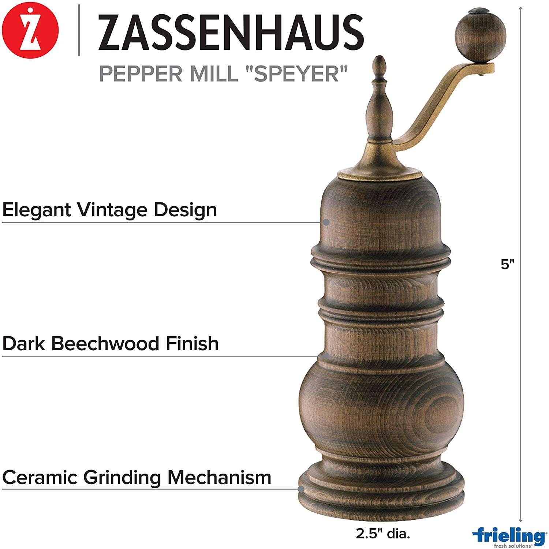 Zassenhaus Speyer 5.1-Inch Dark Stained Beech Pepper Mill