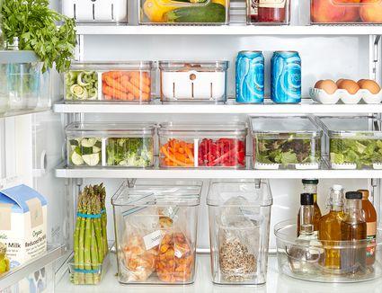 fridge organized using The Spruce and Lowe's organization line