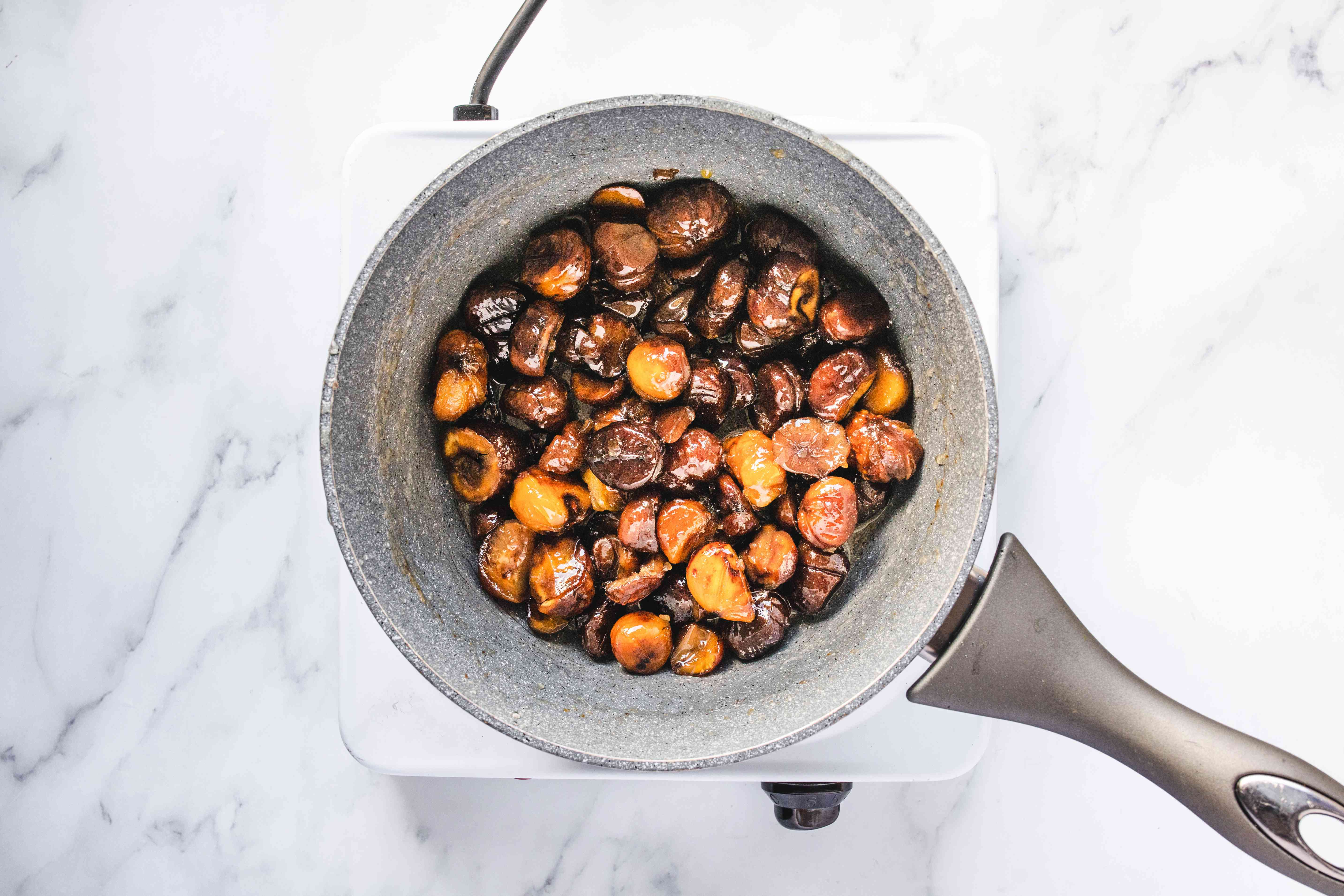 Saucepan with chestnuts