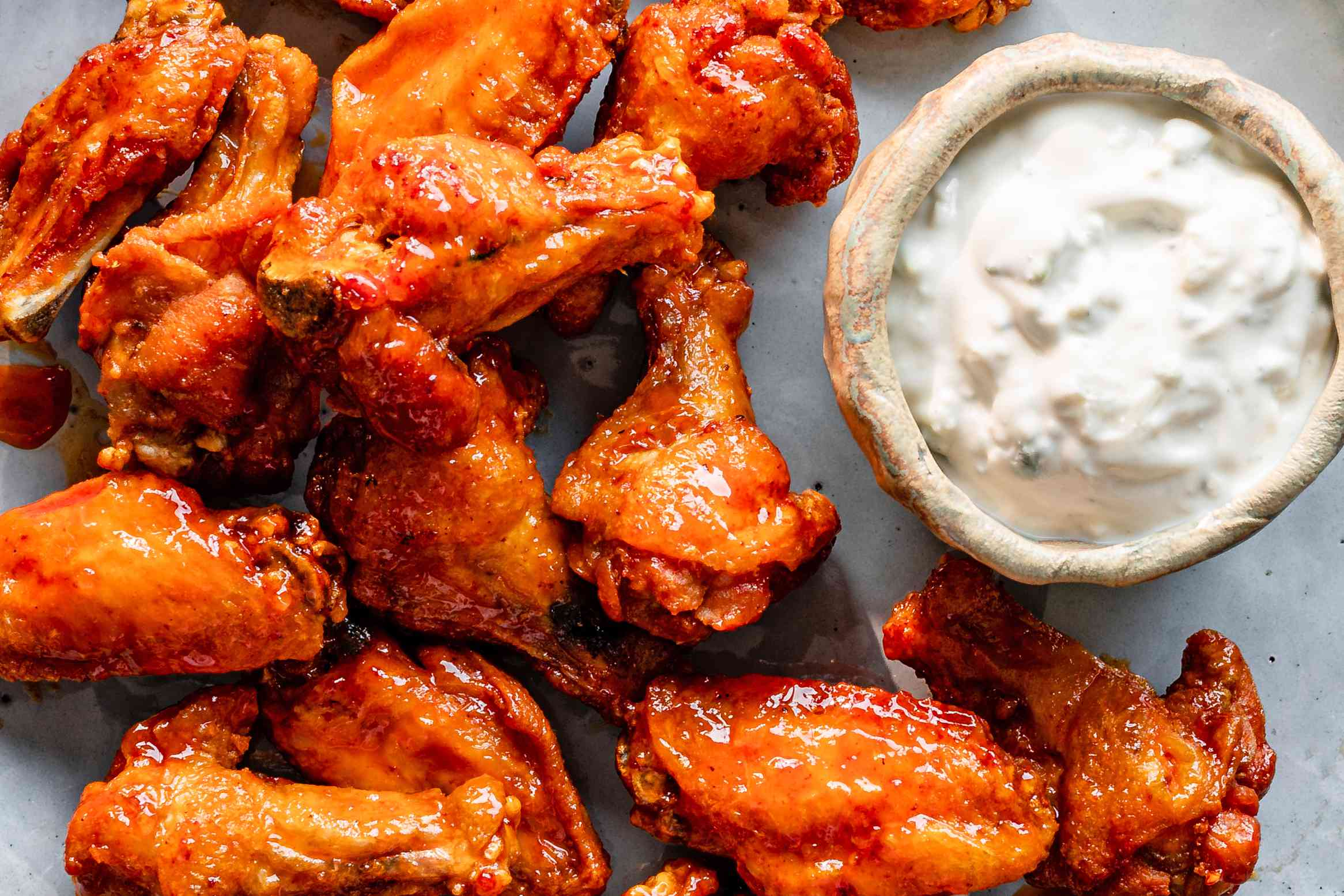 Serve Buffalo wings with blue cheese dressing