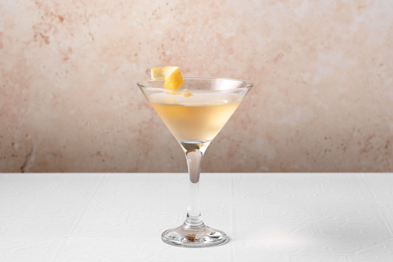 Smoky Martini garnished with a lemon twist