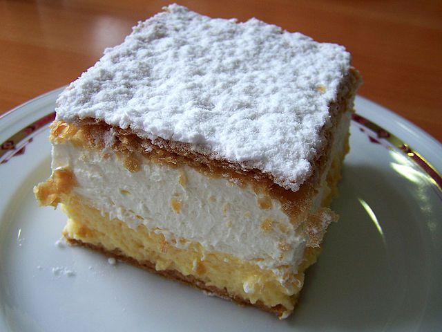 Kremna rezina Slovenian vanilla and custard dessert, photographed at the Park Hotel, Bled in August 2006.