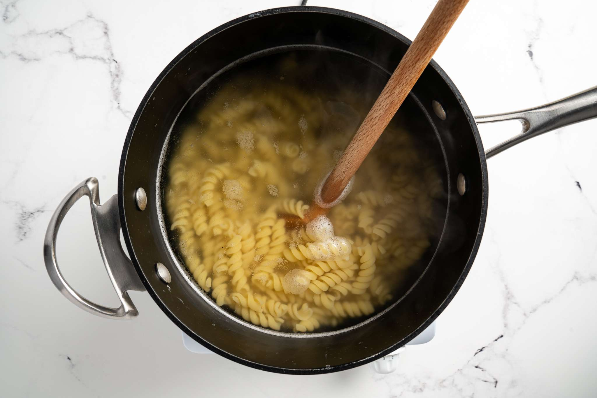 pasta cooking in a pot