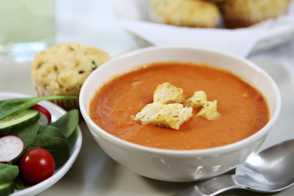 lunch - tomato soup,savory muffin, salad'