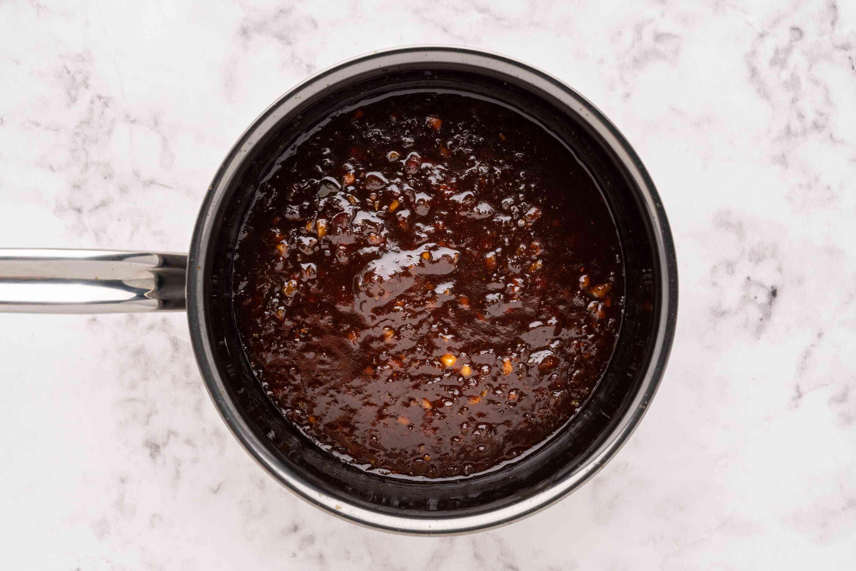 Apricot-Chili Glaze for Chicken in a saucepan
