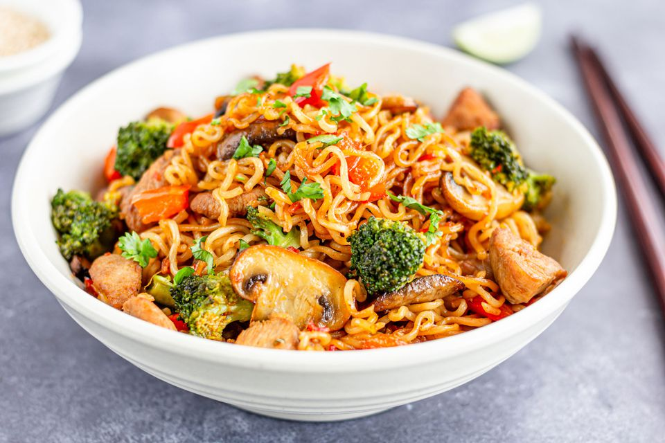 Chicken and Broccoli with Ramen Noodles
