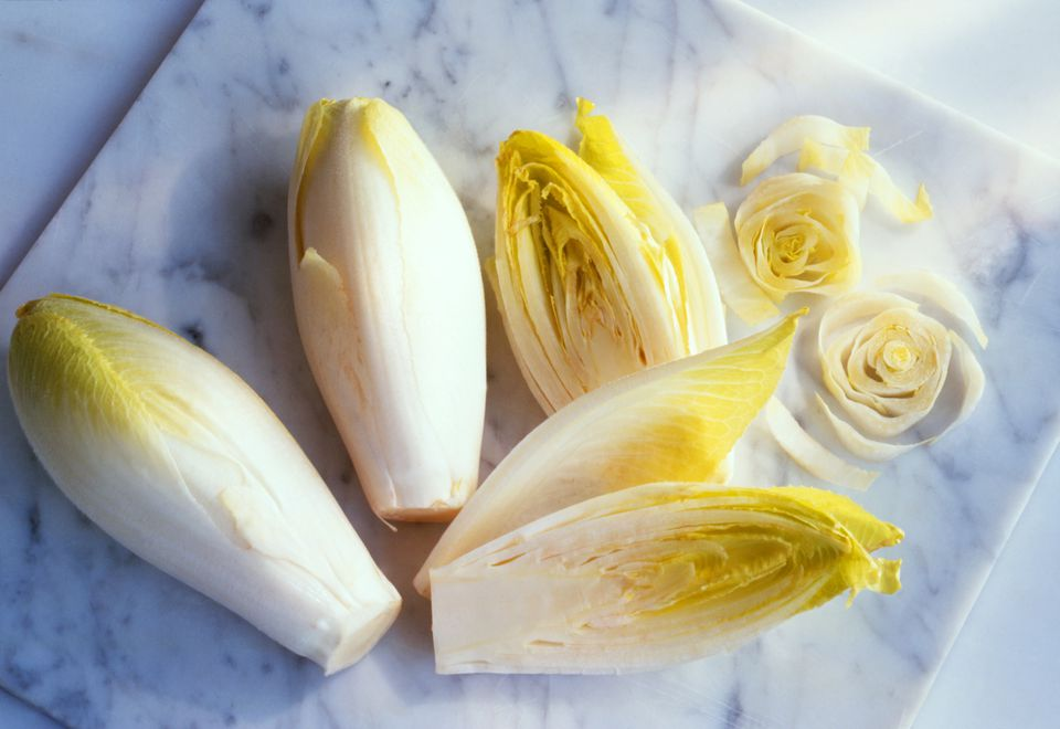 Belgian endive features compact, cylindrical heads