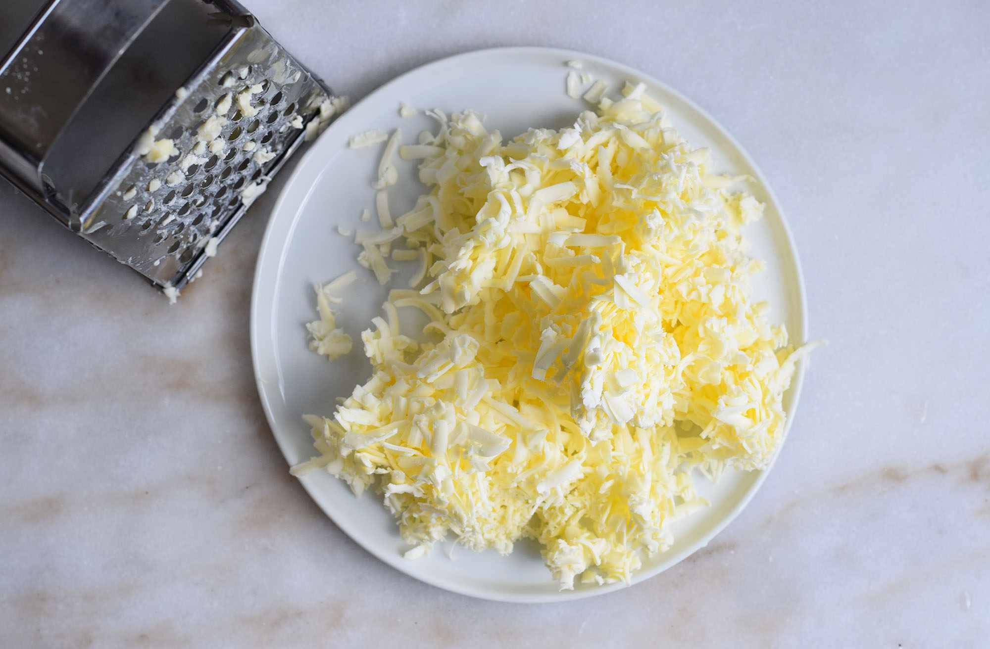 shredded cold butter