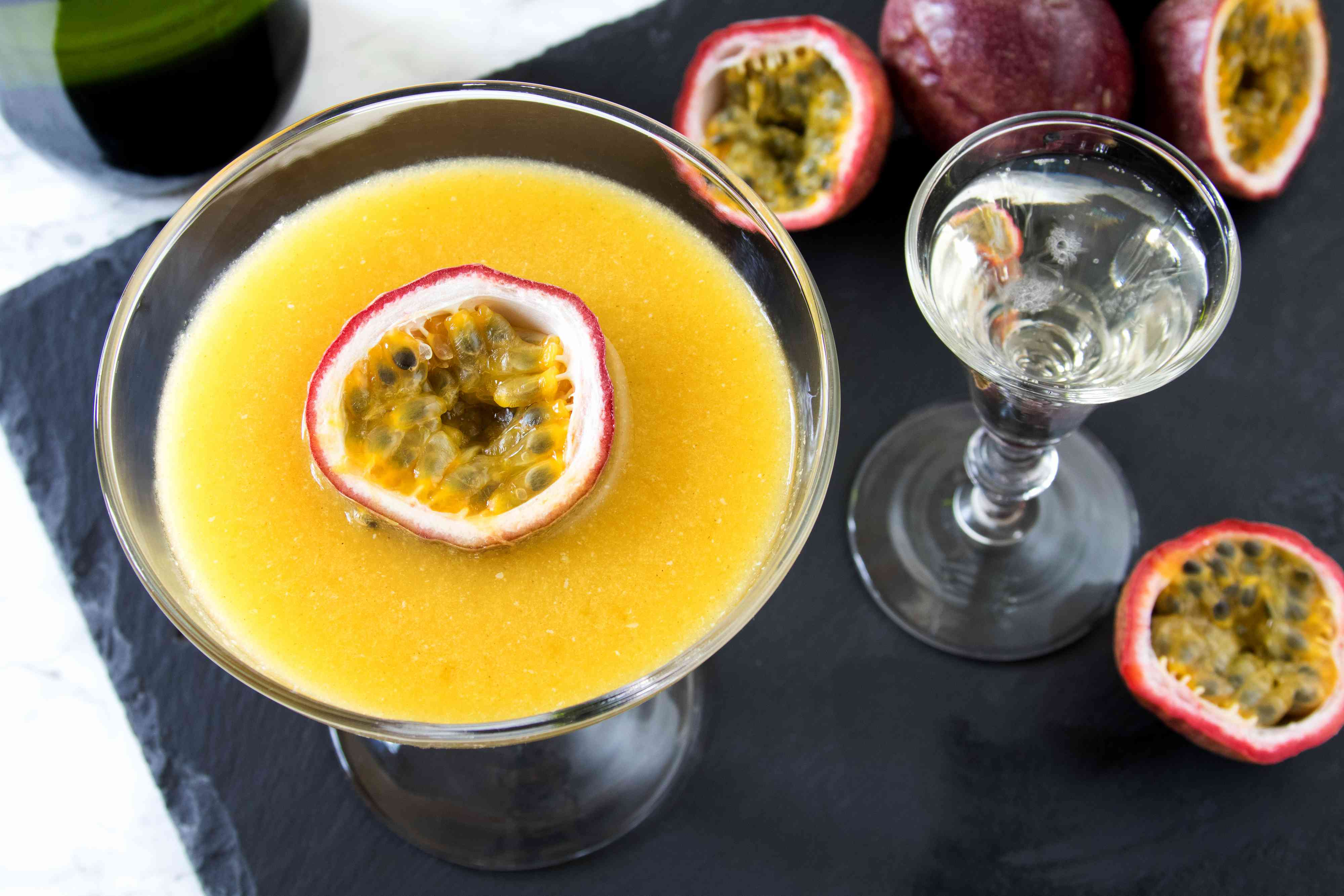 Pornstar martini cocktail with passion fruit and Champagne shot