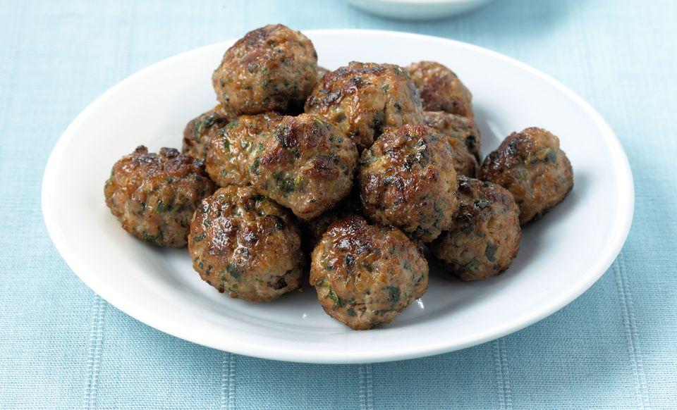A plate of Italian meatballs (polpette)