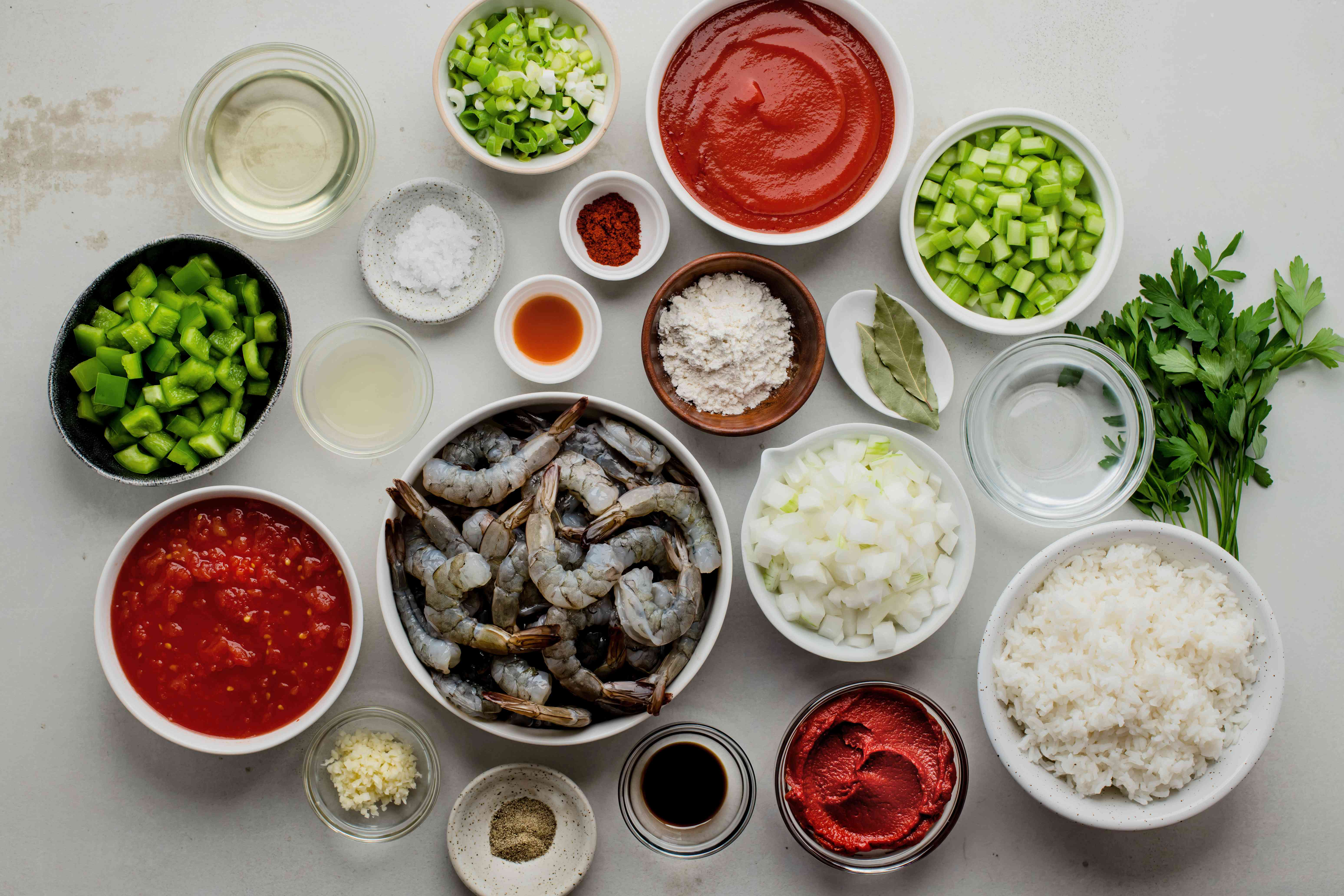 Ingredients for classic shrimp creole with rice recipe