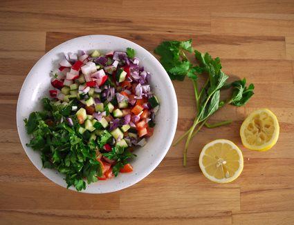 Chopped Salad Preparation