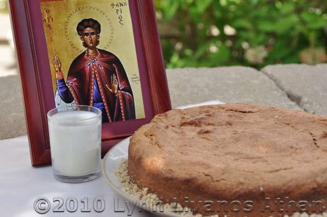 An Offering Cake in Honor of Saint Fanourios - Patron Saint of Lost Items