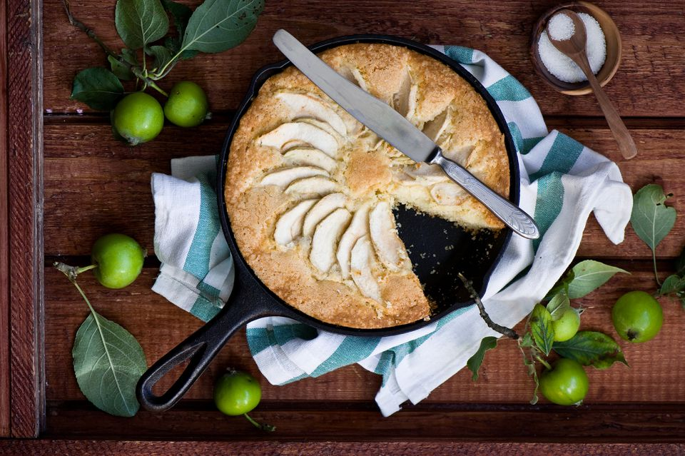 Apple pie in a cast iron pan.