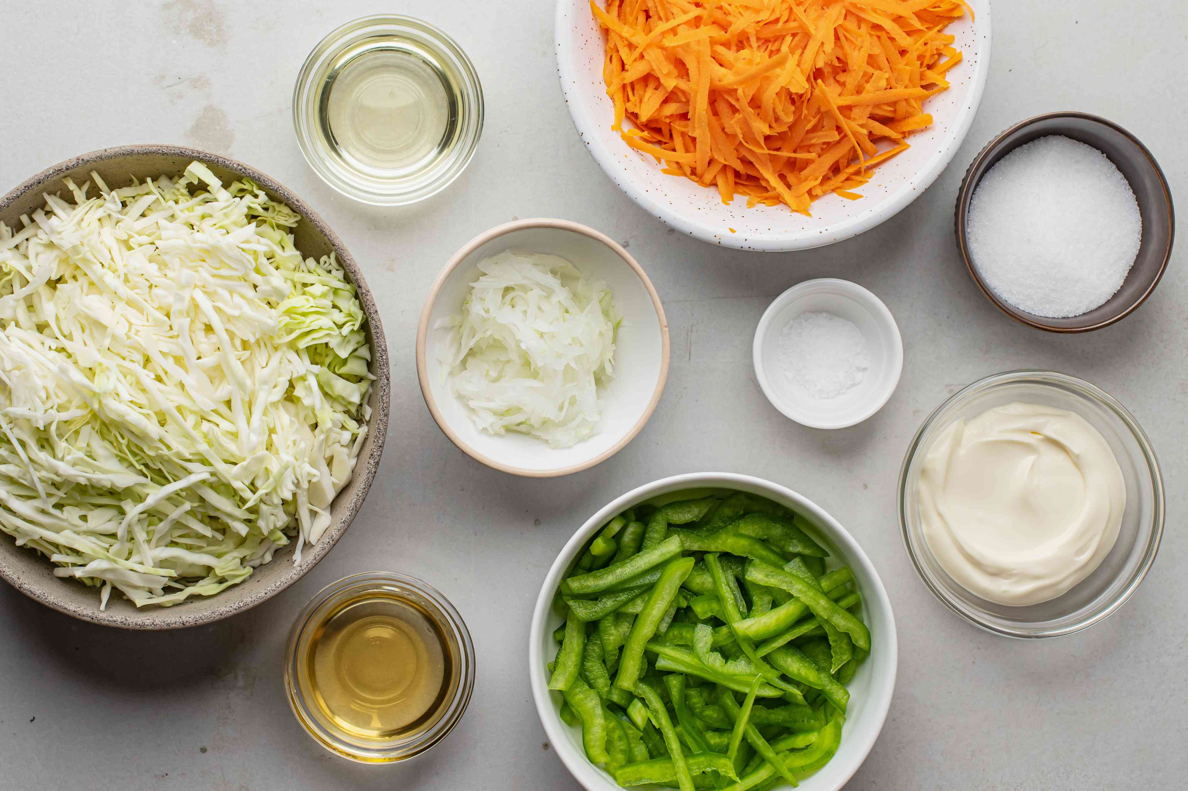 Ingredients for coleslaw with vinegar
