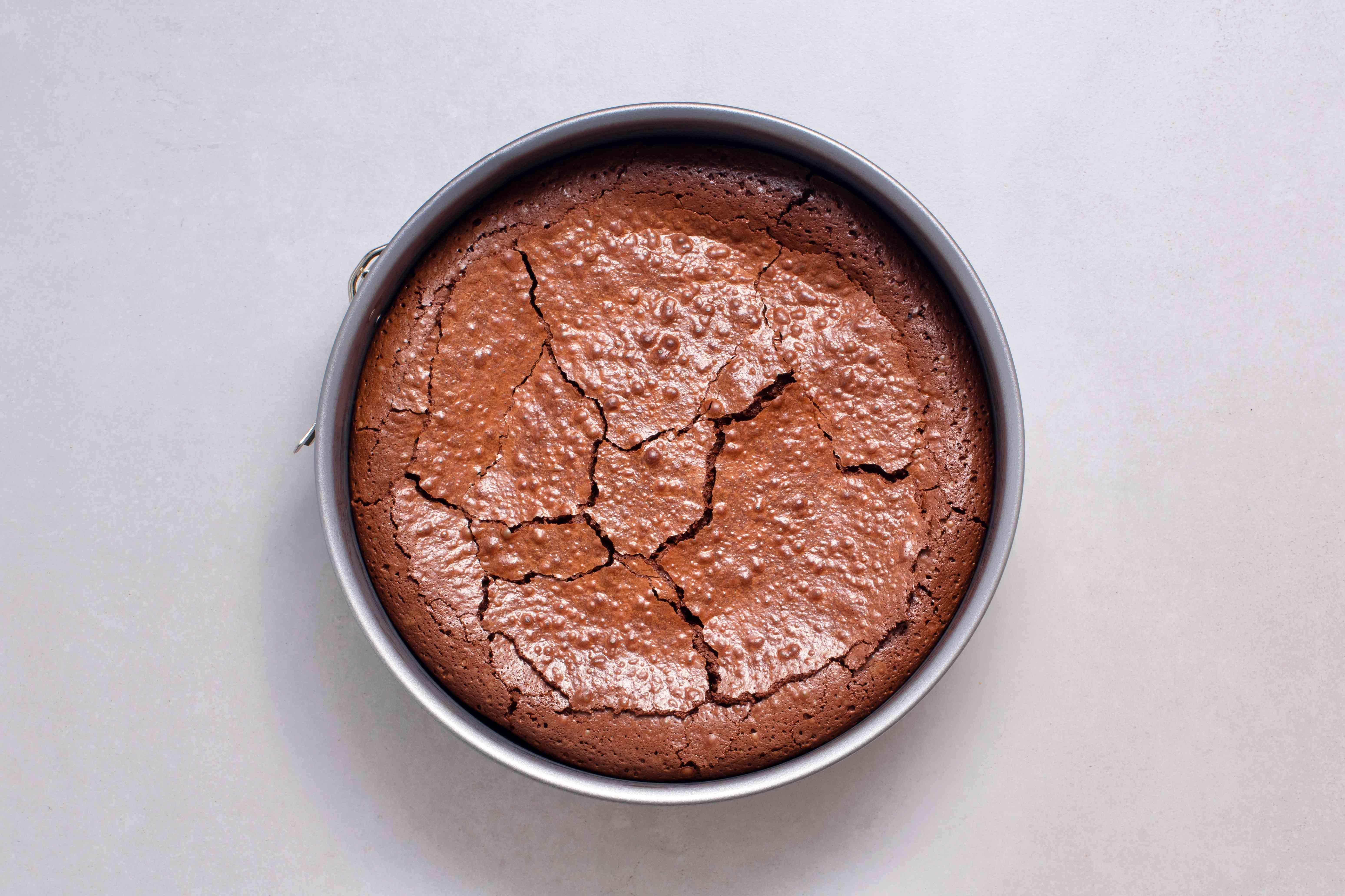 chocolate cake in a springform pan