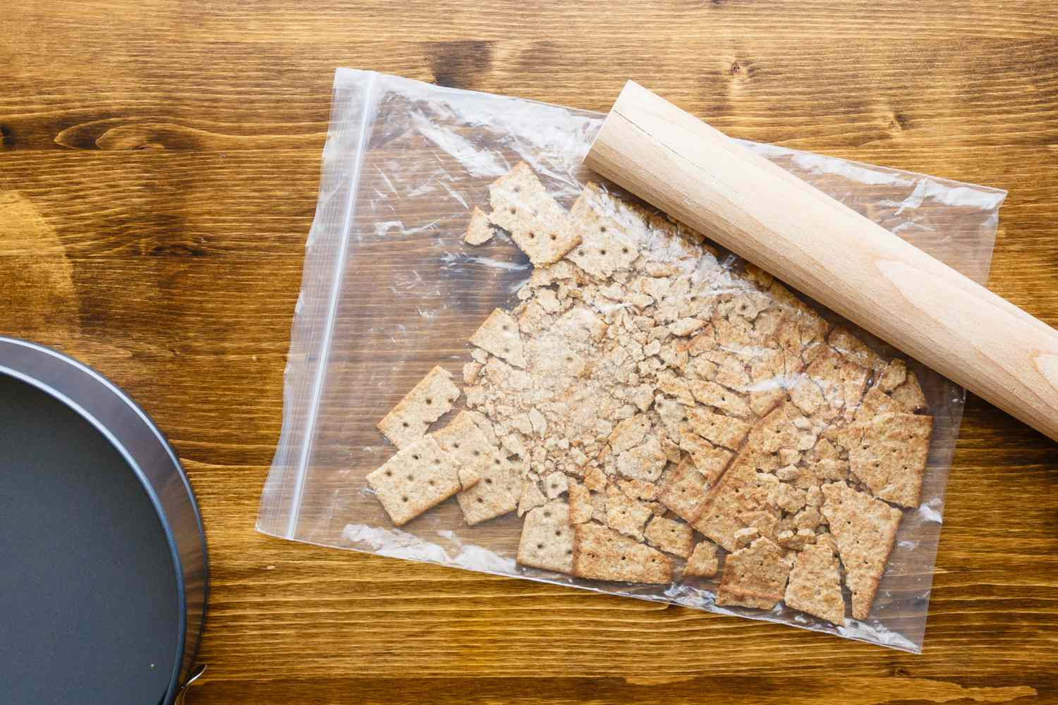 Break up graham crackers with a rolling pin