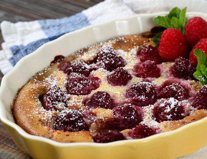 Roasted raspberry clafouti
