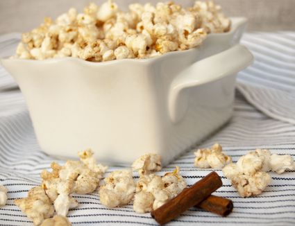 cinnamon popcorn with cinnamon sticks