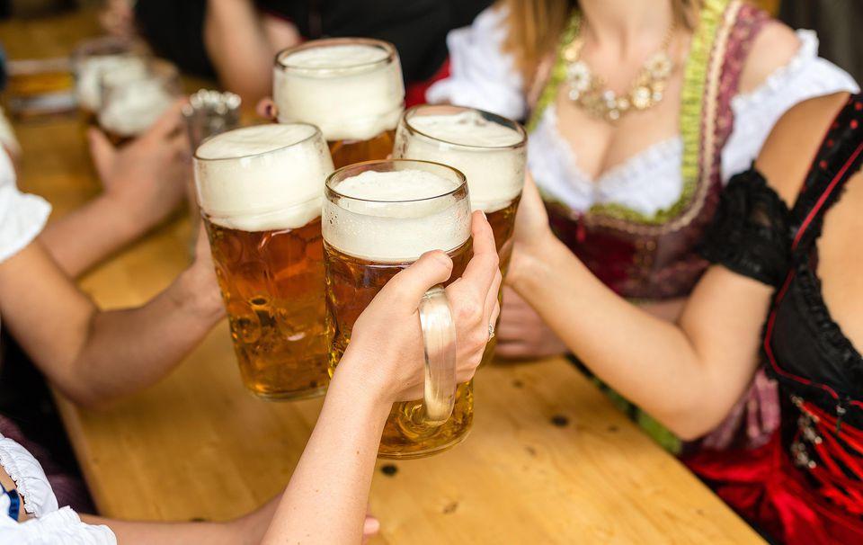 Women Enjoying Beer At Oktoberfest