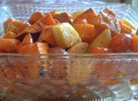 maple dijon glazed root veggies
