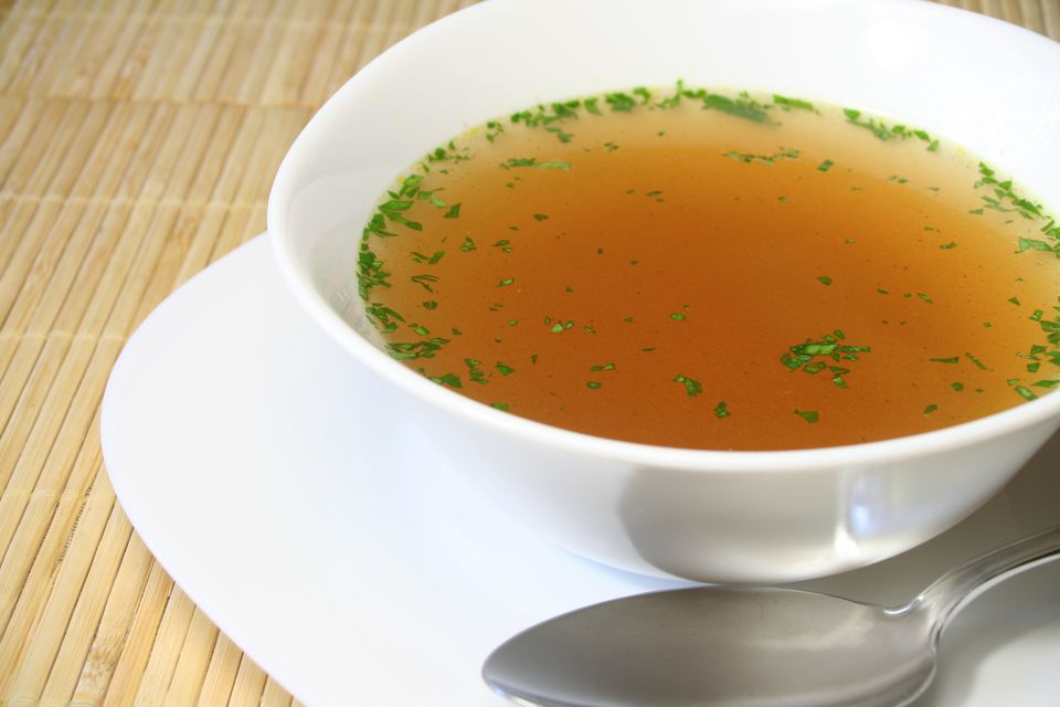 Clear bouillon soup