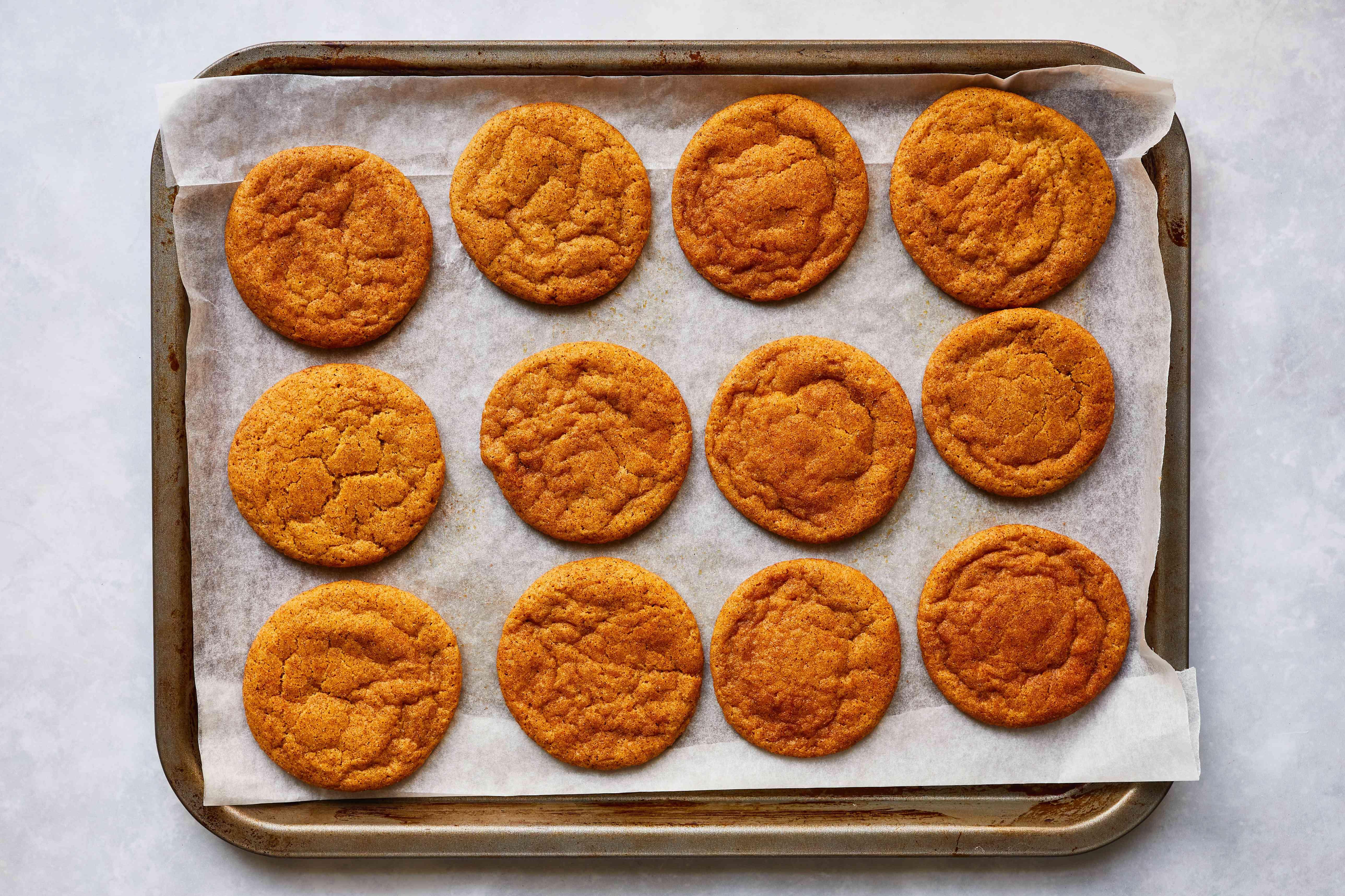 Pumpkin Spice Snickerdoodles on a cookie sheet