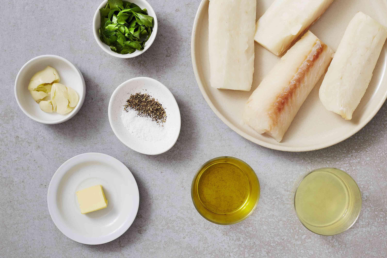 Ingredients for healthy baked lemon garlic cod recipe