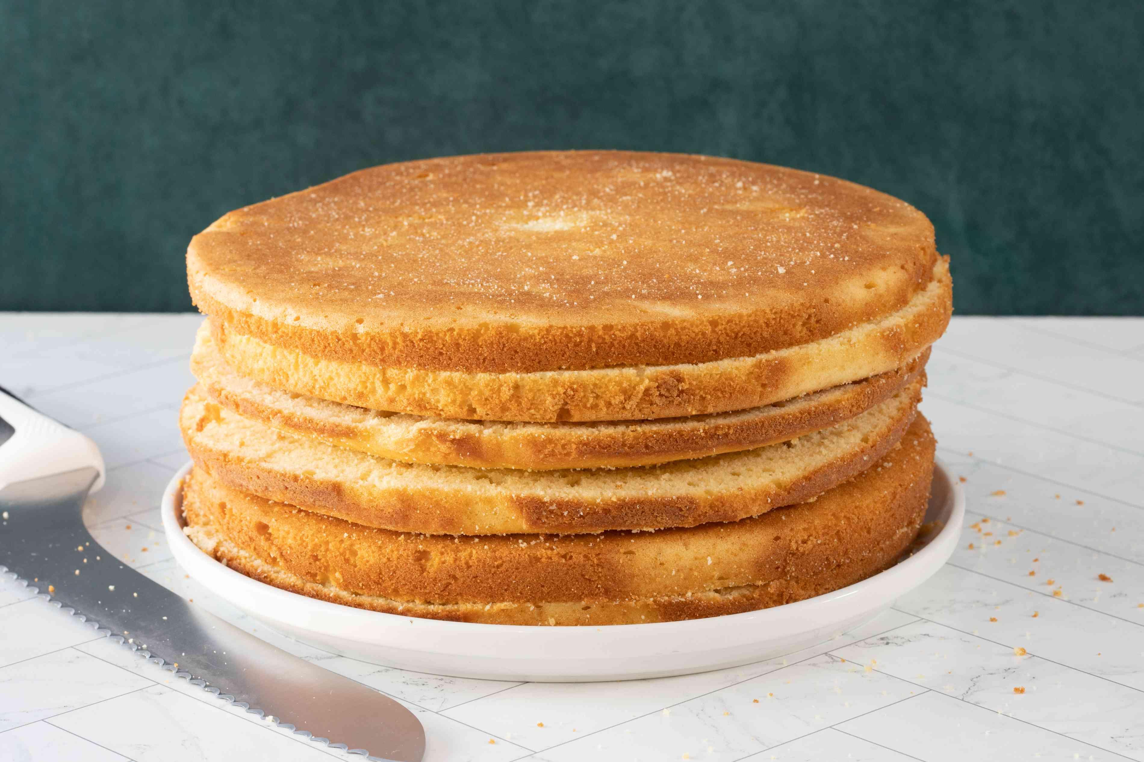 3 cakes split to make 6 layers