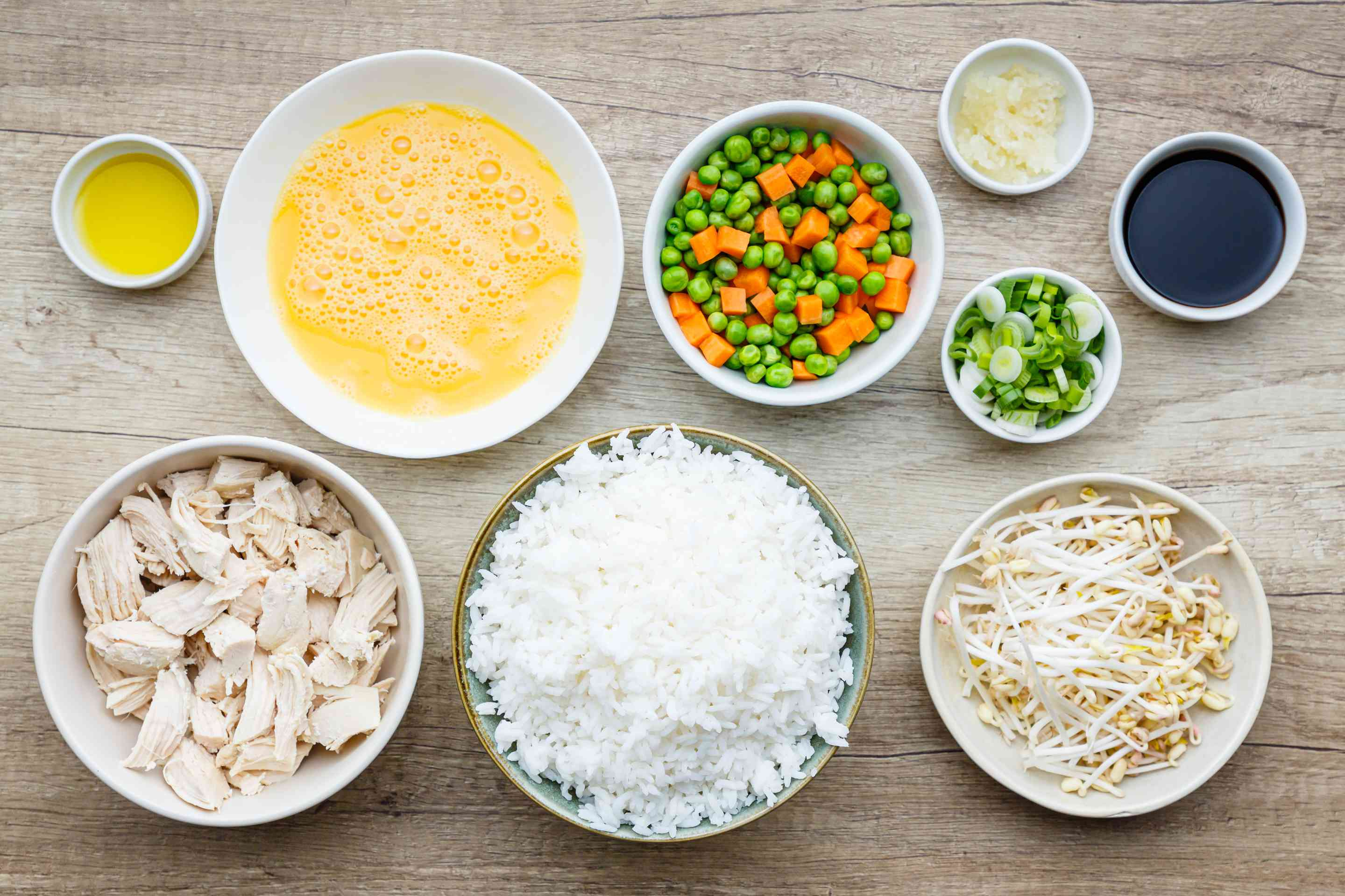 Ingredients for easy chicken fried rice