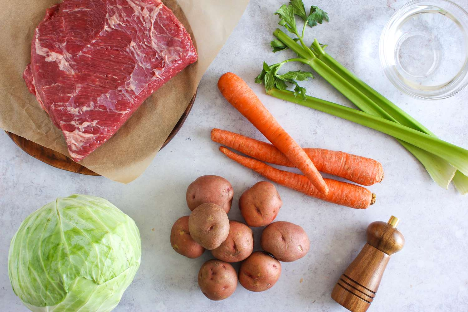Ingredients for slowcooker corned beef and cabbage