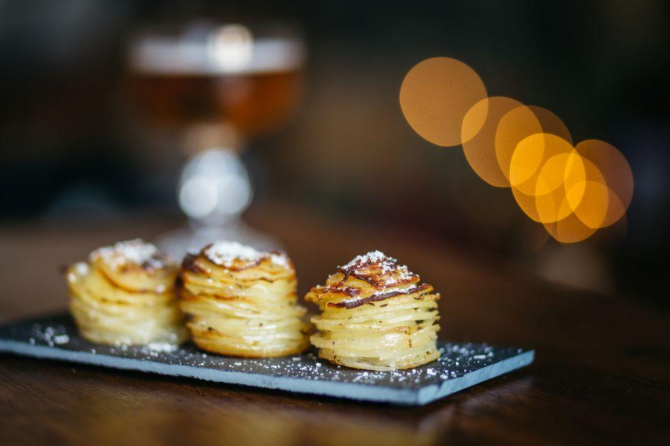 cheesy potato gratin muffin tin stacks