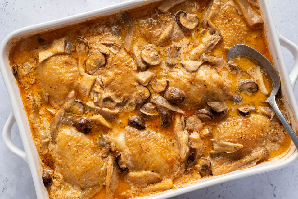 Creamy Baked Chicken and Mushrooms