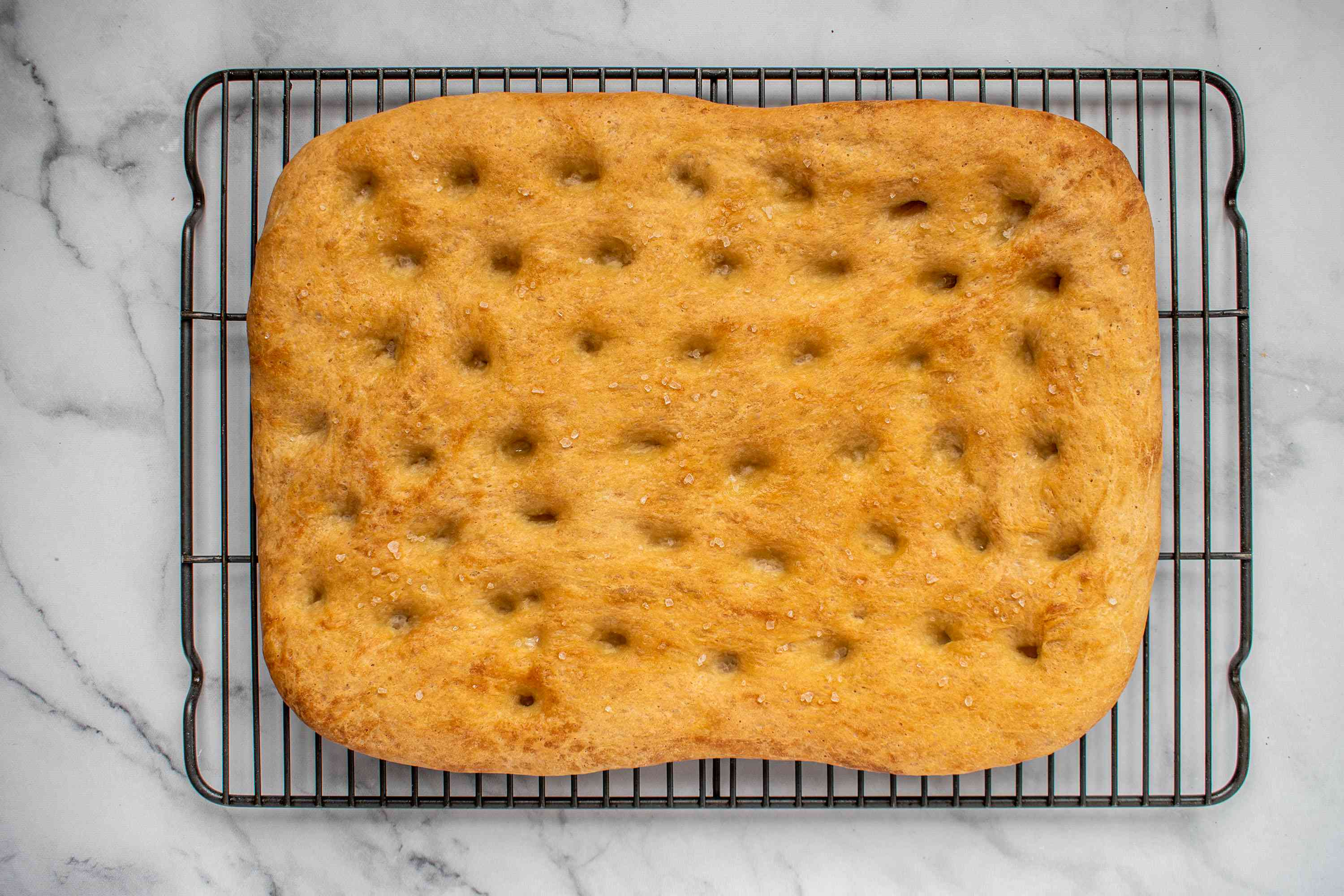 Tuscan Focaccia Bread on a cooling rack