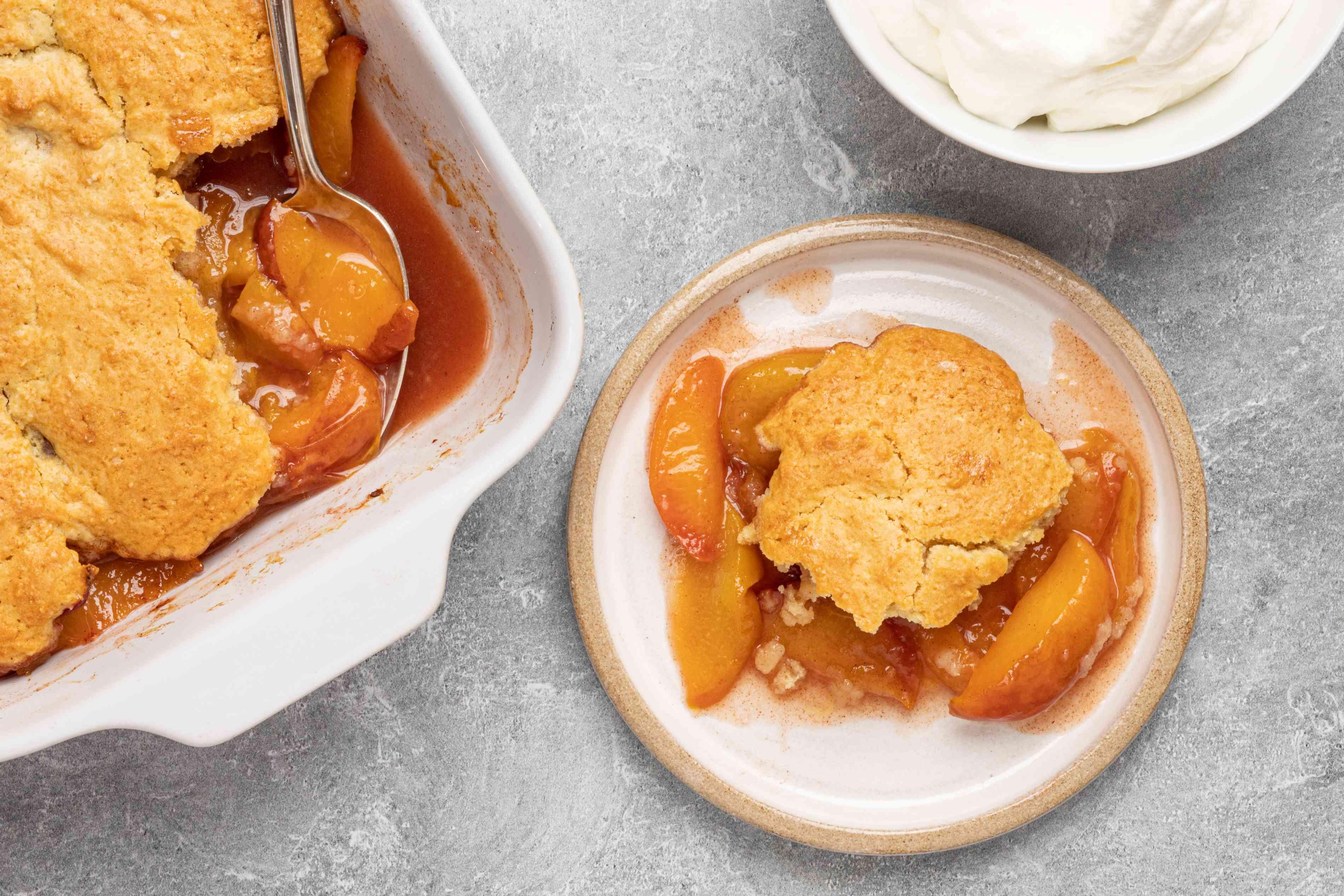 a classic peach cobbler with fresh peaches