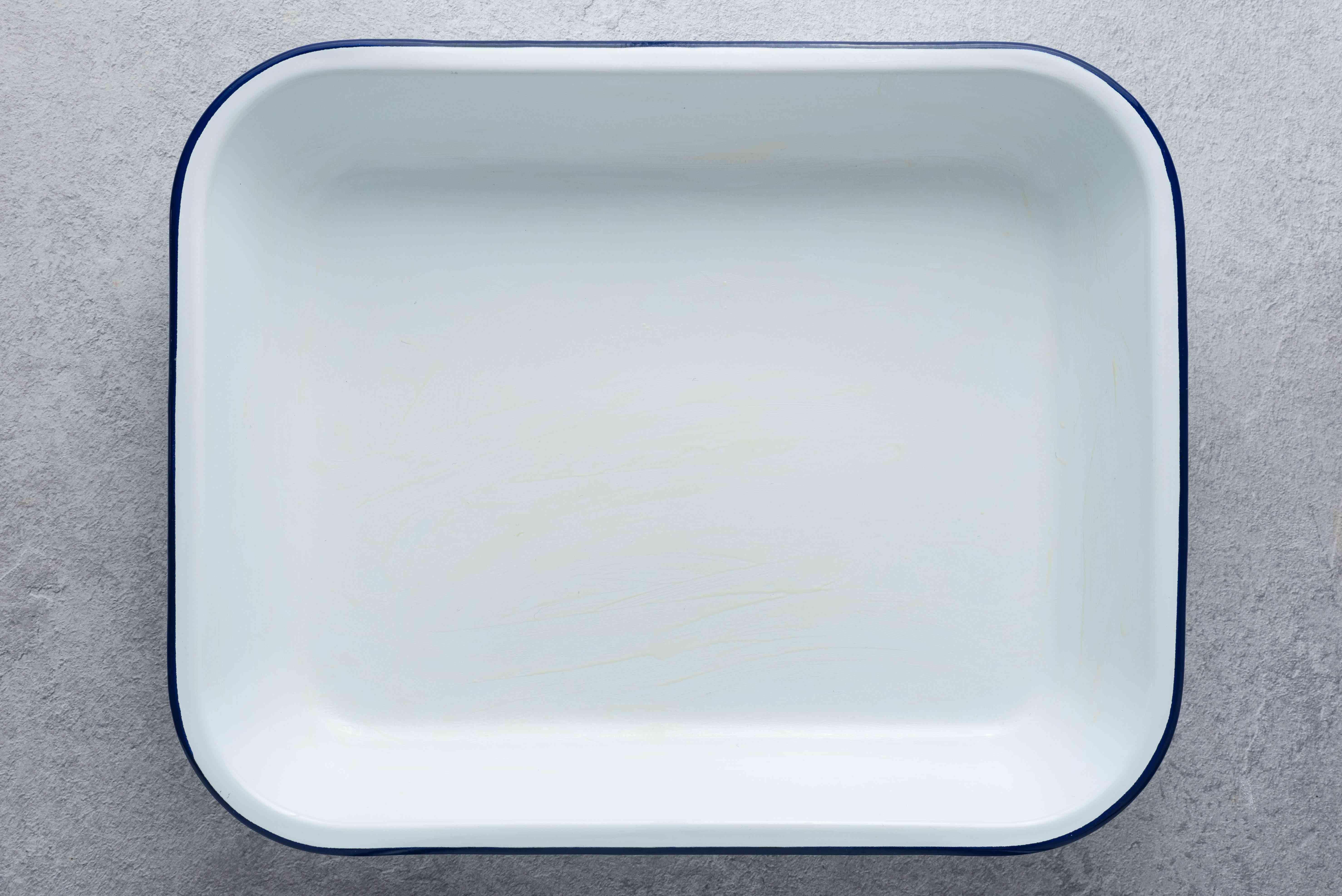 greased baking pan