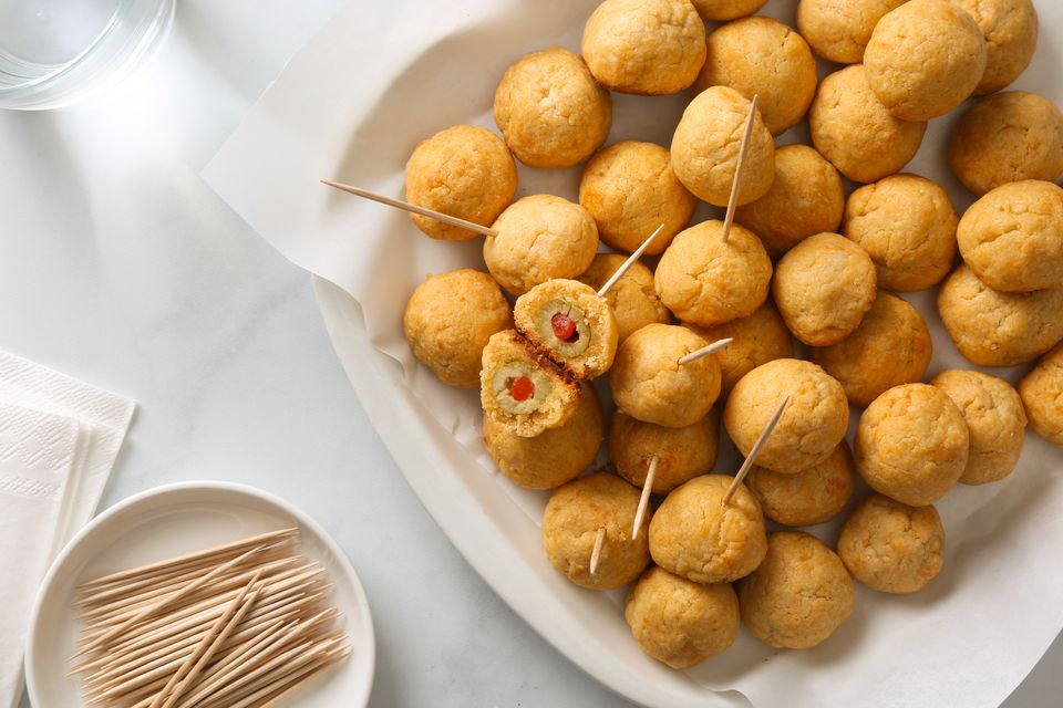Olive Cheese Balls With Cheese Spread