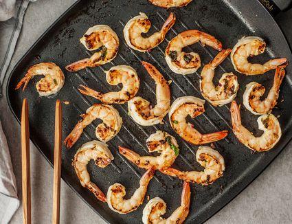 Grilling jumbo shrimp.