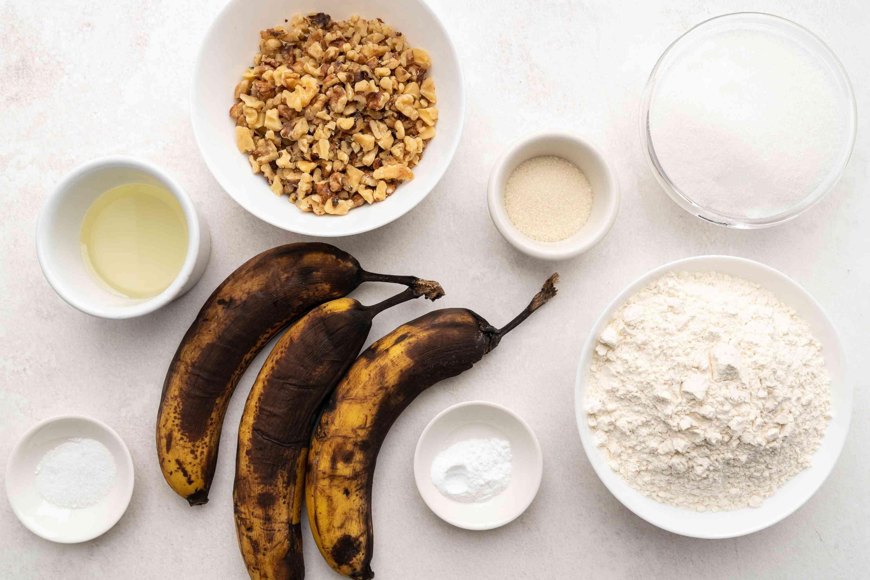 Ingredients for making vegan banana muffins