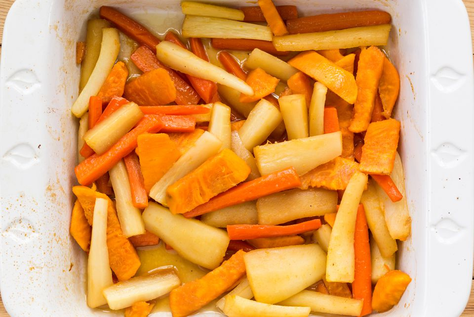glazed carrots, parsnips, and sweet potatoes