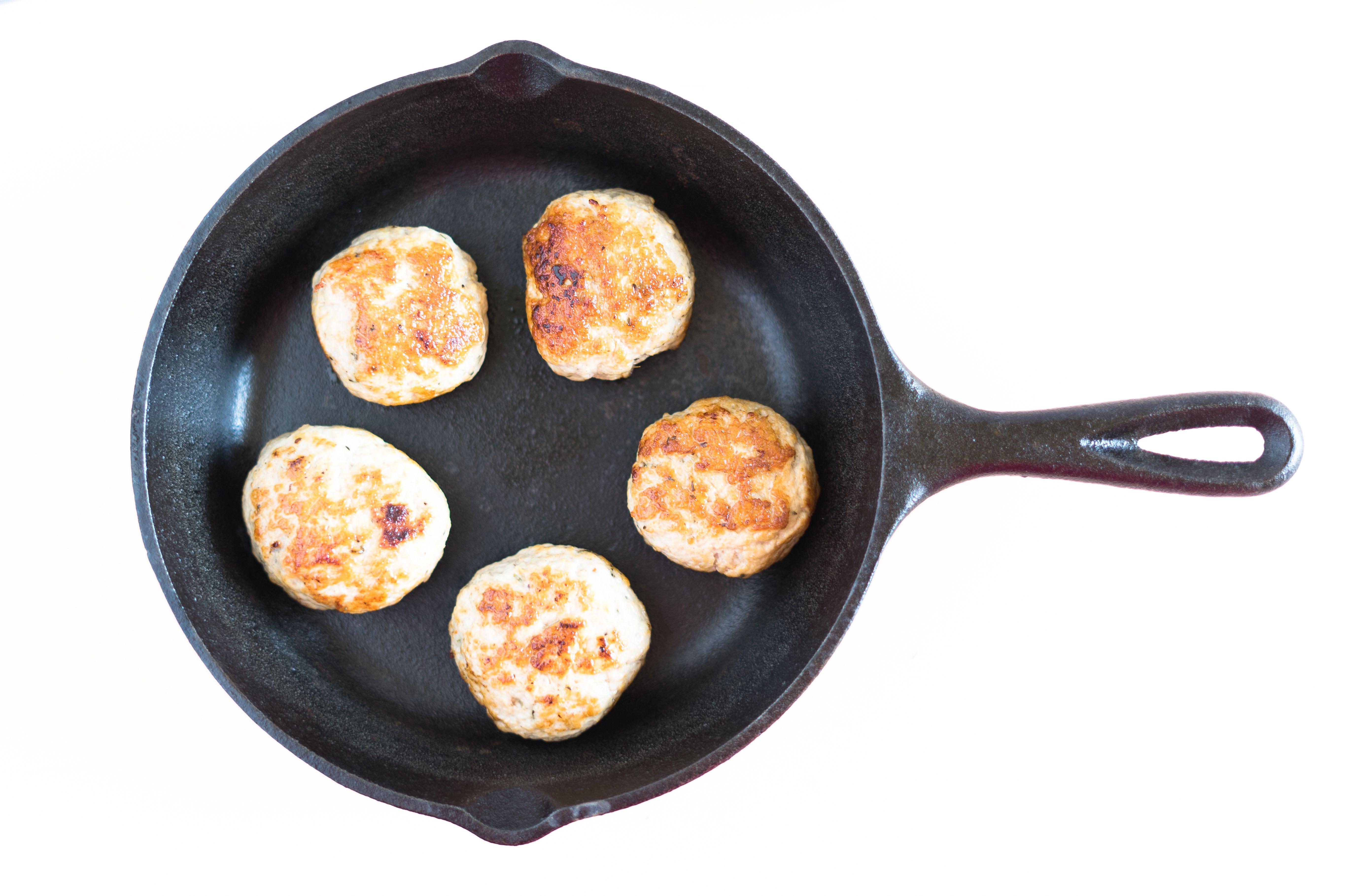 Shape sausage patties and fry