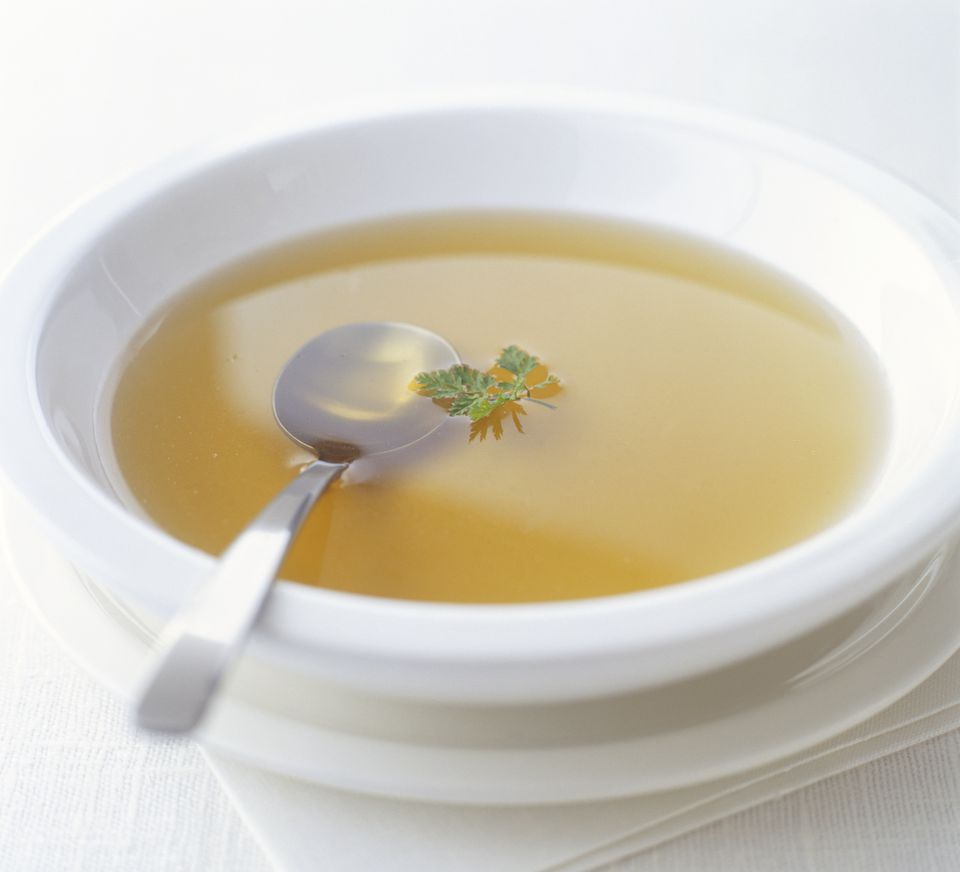 clear soup stock in bowl