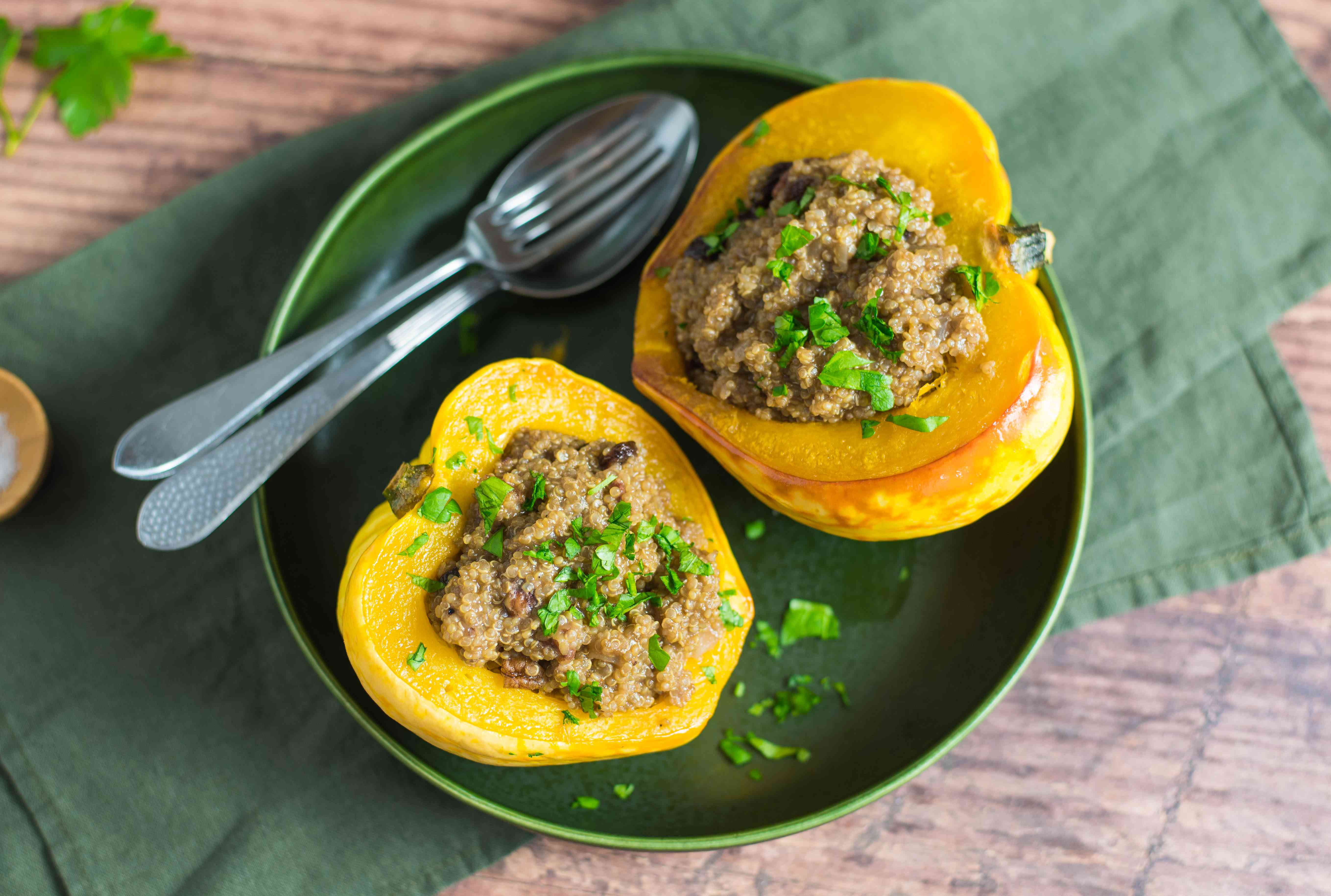 Vegan quinoa stuffed acorn squash