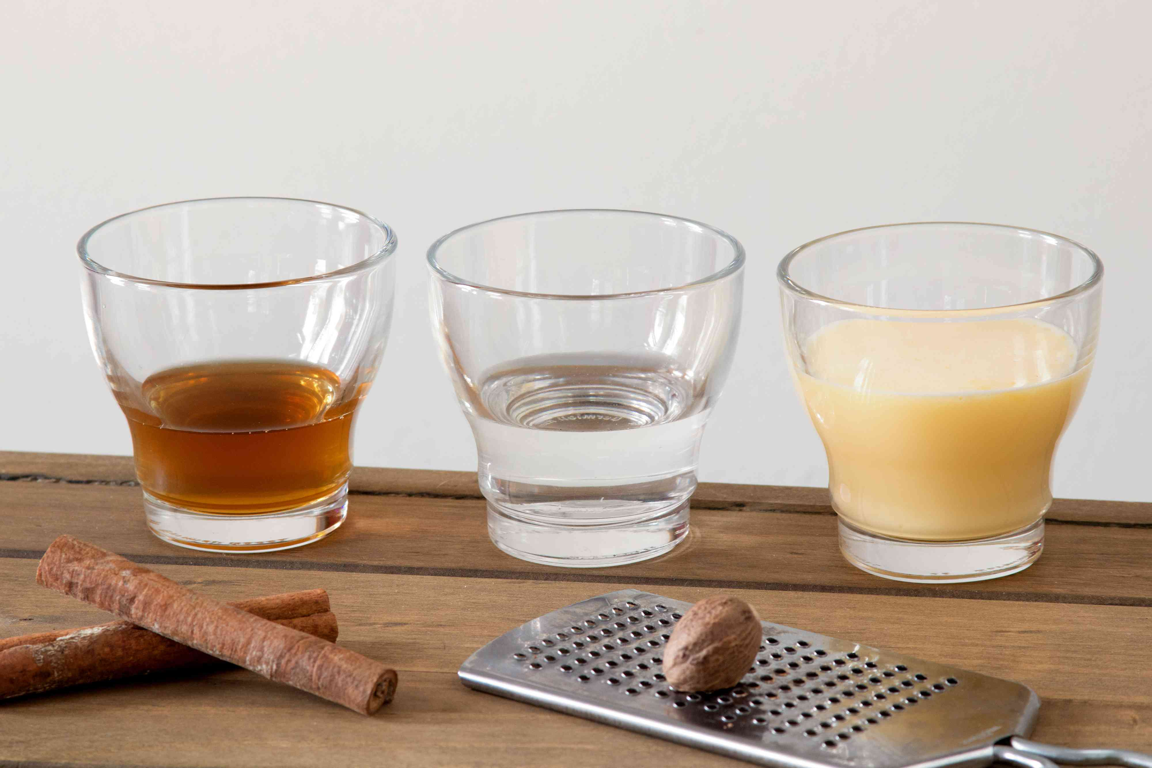 Ingredients for an Eggnog Martini