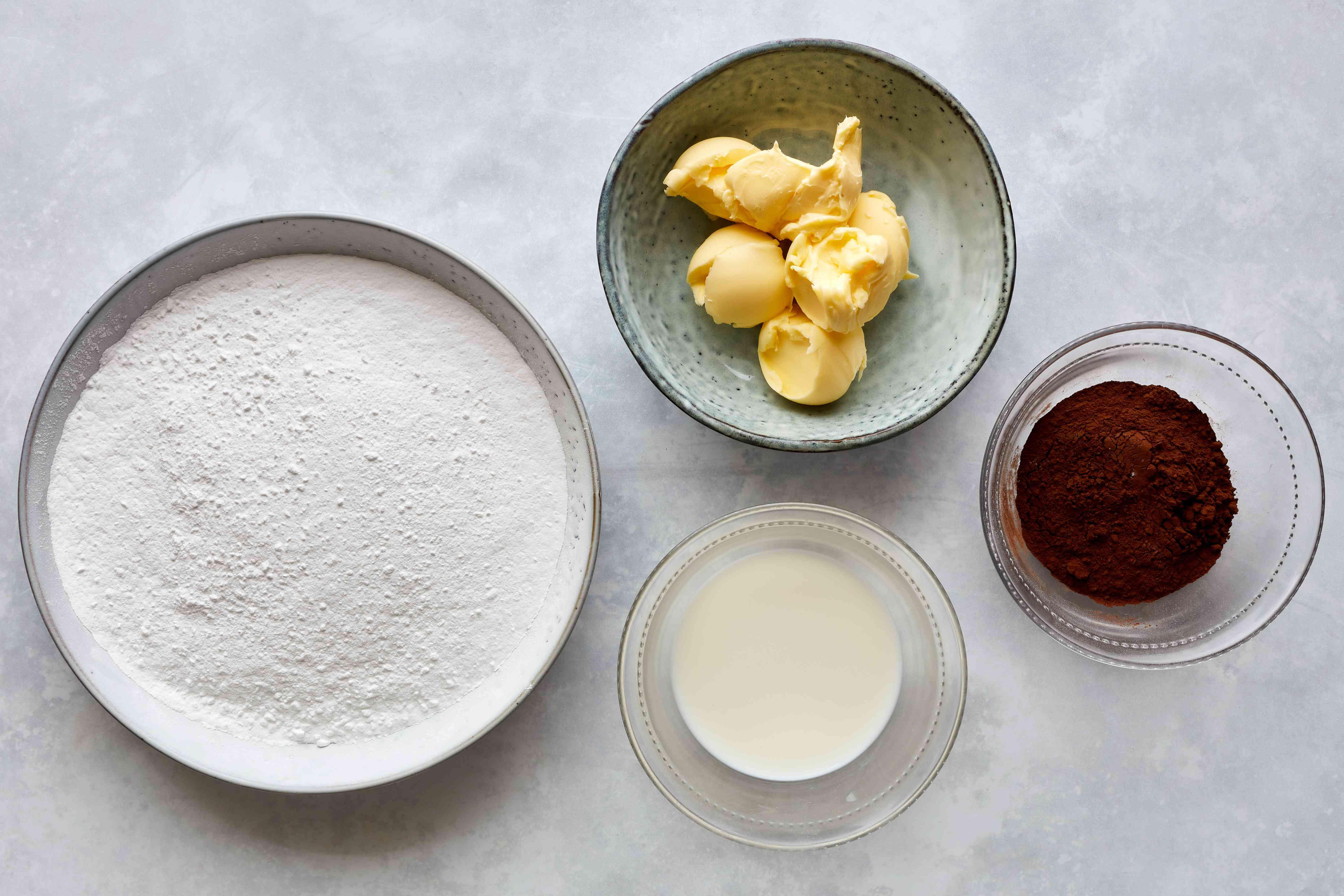 sugar, butter, cocoa powder, milk