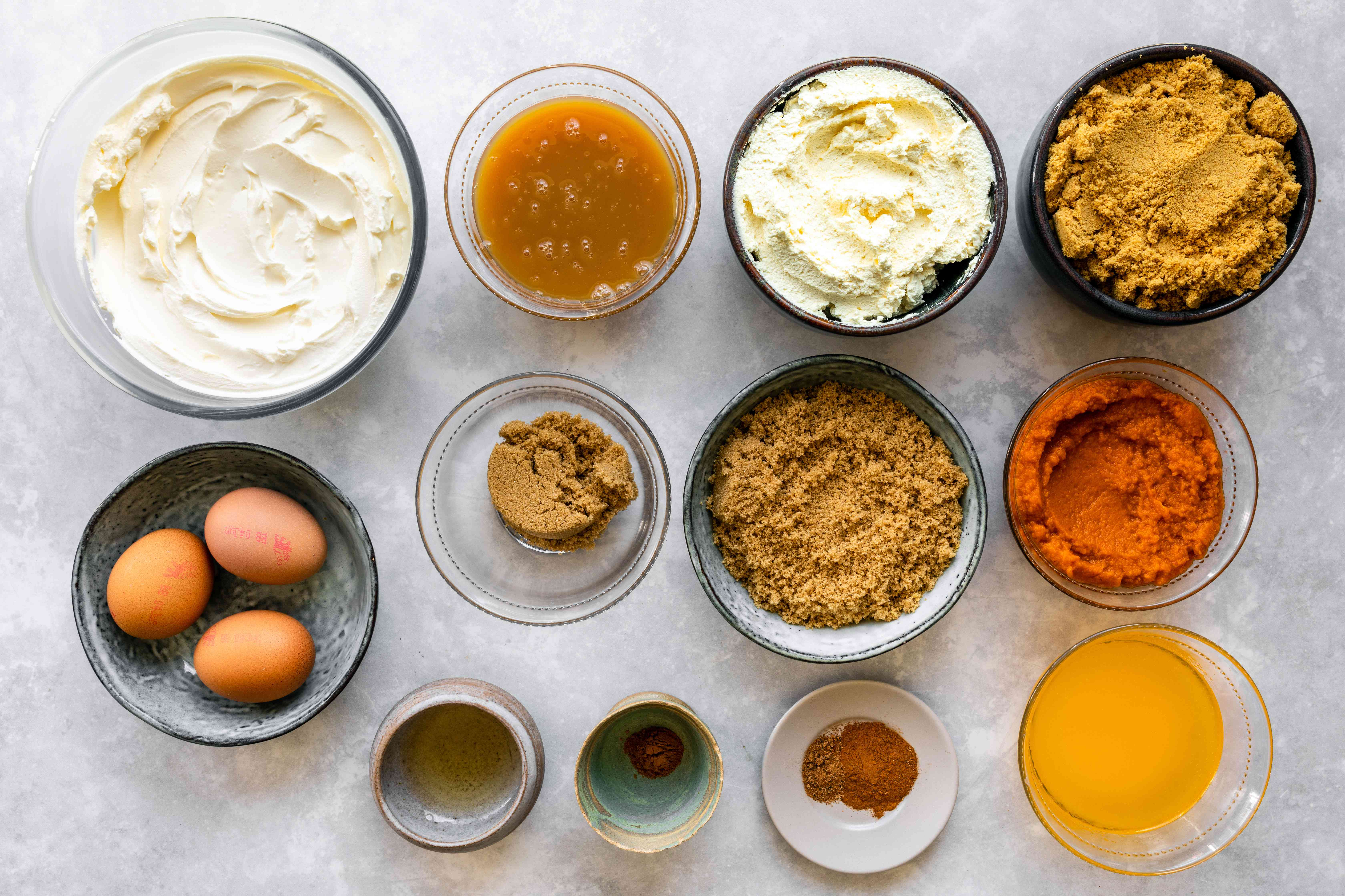 Ingredients for pumpkin cheesecake