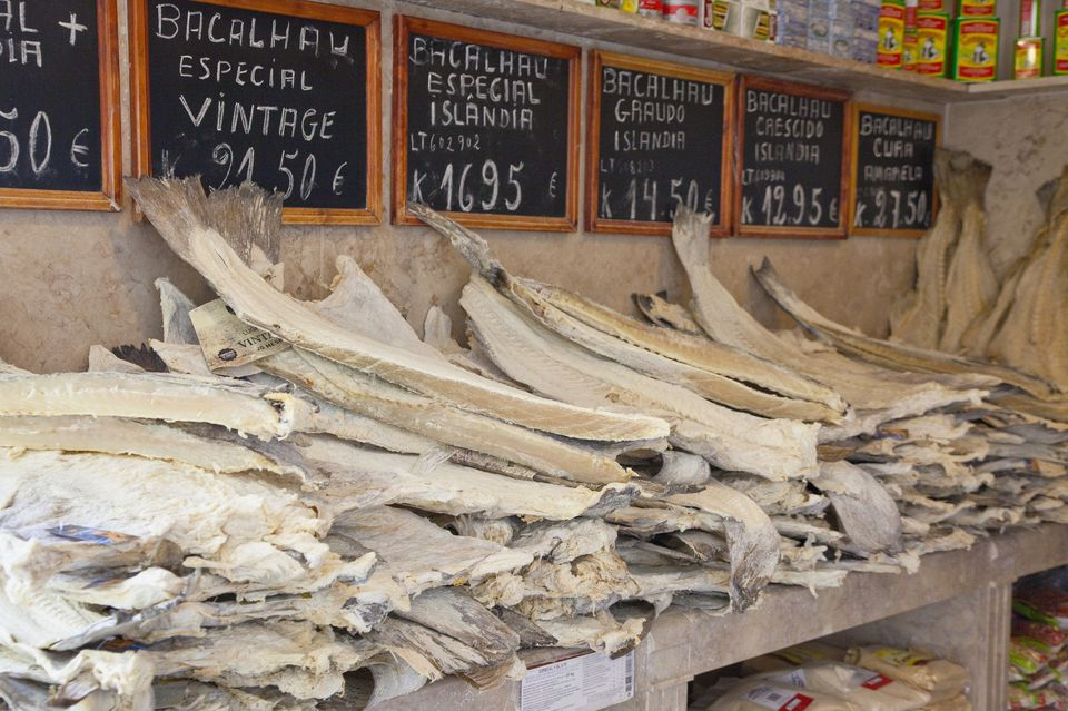 Strips of baccala laid out for sale